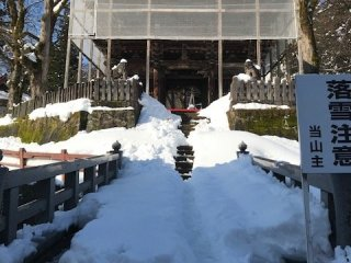 The temple entrance in winter - quite different to the summertime scene!