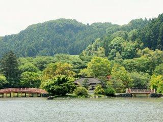 Looking across the pond at Shiramizu Amida-do