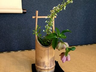 Notice the small touches, seasonal flowers and hanging scrolls