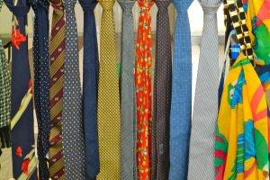 A rainbow of ties.