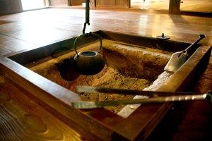 The irori indoor hearth at the farmhouse