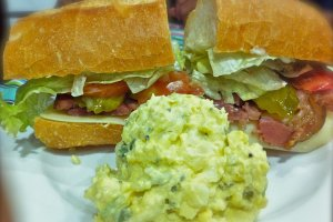 Ham po-boy with creole potato salad