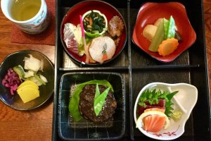 Washoku favorites in a classic bento box.