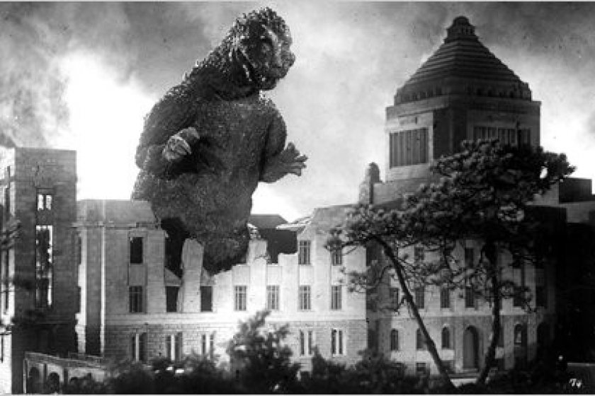 Godzilla takes a walk through the Diet Building.