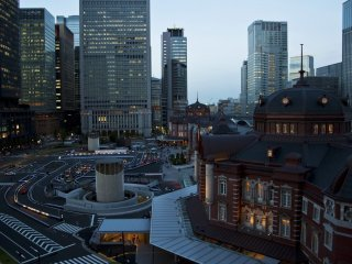 View of Tokyo station and surroundings during the evening twilight