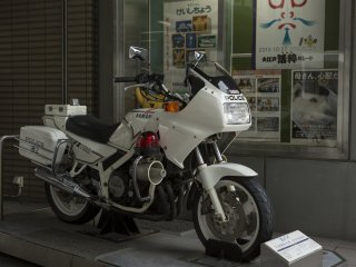 You can sit on this retro Yamaha if you wish in the Metropolitan Police Museum at Kyobashi