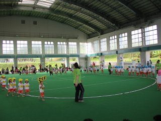 These preschoolers are having their undokai at the Okinawa City Athletic Park