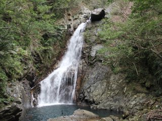 Hiji Falls as seen from the observation point at the end of a 1.5 kilometer hike from the nearby campground