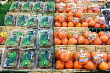 <p>The freshest local fruits and other produce at the Kitahiroshima Co-op</p>