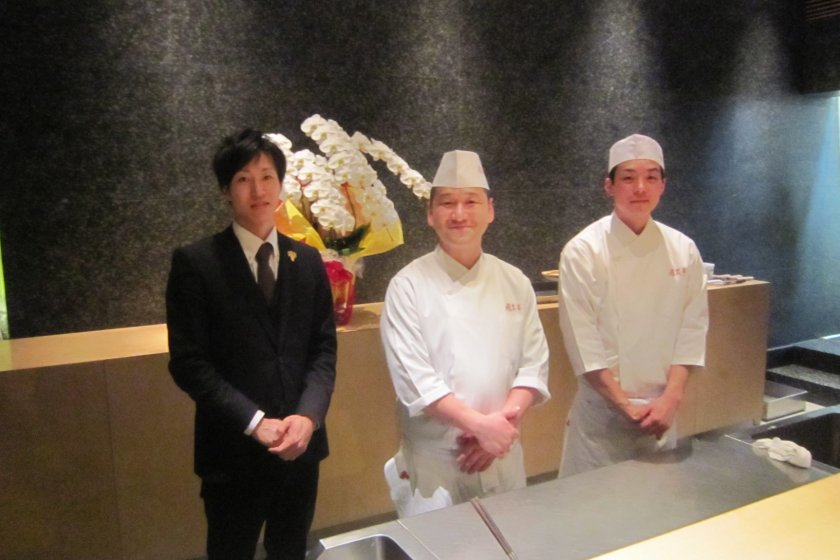 From left: Mr. Yuhei Kijima, the sommelier; Master chef, Mr. Hisamitsu Hataji; an Apprentice chef who declined to divulge his name. I'm sure he'll make a great chef one day!