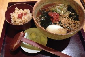 ume-wakame soba with a side of rice