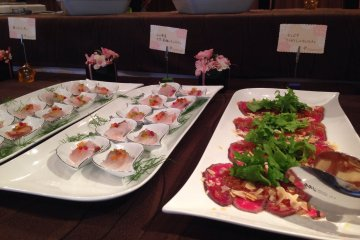<p>Appetizers at the Motobu&nbsp;Beef and Wine event</p>