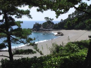 Katsura Beach viewed from a hill behind it