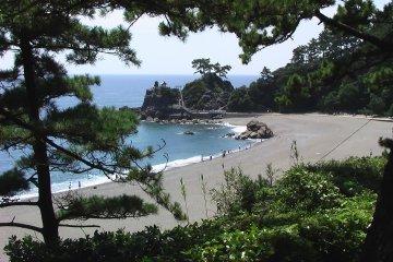 Katsura Beach viewed from a hill behind it