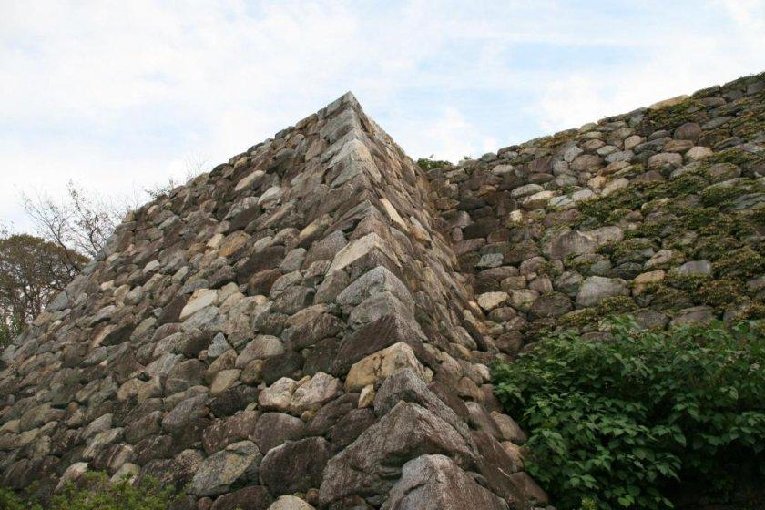 Massive stone walls of Matsusaka Castle
