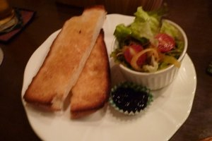 Breakfast set of butter toast and salad