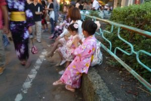 Girls clad in Yukata