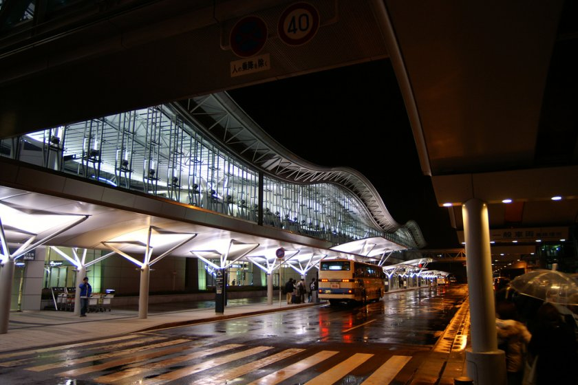 Sendai Airport Bus Stop by Night