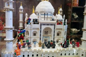 The famous TajMahal constructed of LEGO bricks.