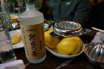 <p>If you have a large party and you order the grapefruit and soda chu-hi you may receive your own bottle of Andy&#39;s shochu to mix with your grapefruit and soda. It&#39;s hands-on and interactive</p>