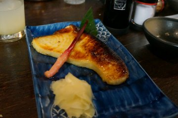 <p>Swordfish marinated in a white miso paste for three days and grilled. Melt in your mouth goodness</p>