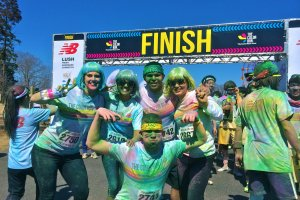 Our team at the Finish line plastered in color!