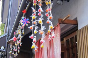 Candy mobiles decorate many shops