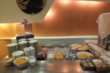 <p>Cereal, milk, juice, fresh fruit and yoghurt section</p>