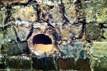 Glaze on the kiln walls and a fire hole