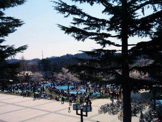 O Parque Nishikoen visto de uma ponte para pedestres