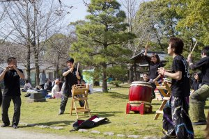 Students give a taiko performance