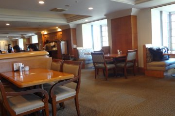 Inside the spacious, bright restaurant.