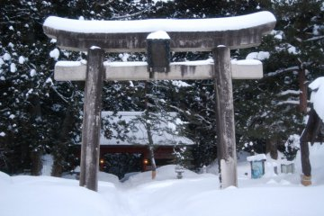 The large torii is the entrance to Mount Haguro