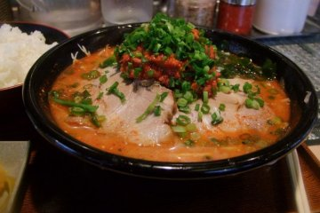 Spicy ookara ramen at the Men Dojo ramen restaurant in Fujimi