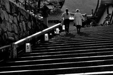 아침 일찍 기요미즈데라로 가는 계단 오르기