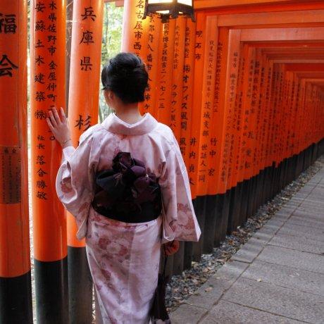 สวมชุดกิโมโนเดินเล่นในเกียวโต