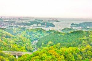 Nagaura Bay, (Tokyo Bay) as seen from the peak of Mount Nyuto