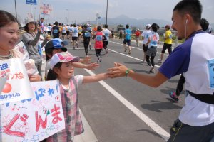Encouraging runners along the way - the Sakuranbo Marathon is fun for those who don't run too