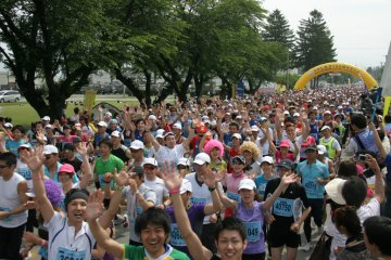 Run for the cherries - at the start of the Sakuranbo Marathon