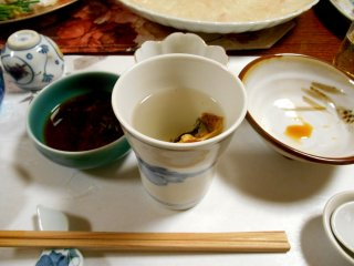 Hire-sake (blowfish fin in hot sake) has a deep, rich taste