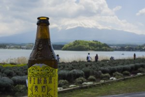 Having a beer right in front of Mount Fuji...killer!