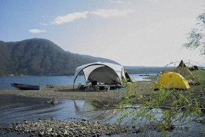 Holiday makers camping at Lake Saiko