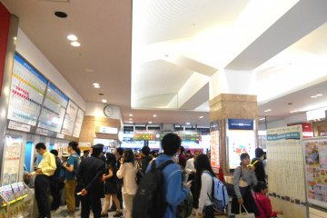 <p>Inside the JR Tokushima Station. It&#39;s unusually crowded due to the Golden Week Holidays</p>