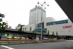 JR Tokushima Station seen from one of the bus stops
