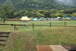 The campsite is well-equipped with a cookhouse and showers.