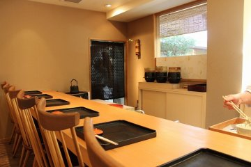 <p>The small restaurant of just counter seats is beautiful in its simplicity</p>