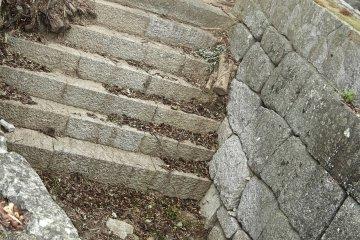 Все что осталось от замка Танкаку - основание и каменные лестницы. Большинство ступеней на руинах хорошо сохранились, но некоторые серьезно разрушились.