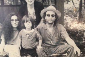 John Lennon, Yoko Ono and Sean relaxing one afternoon in 1979 at Rizanbo. The lady in the background is the owner and still works there today. The picture hangs on the wall with many more of John playing in the grounds with Sean