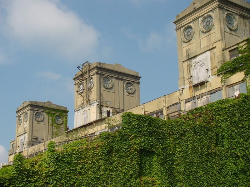 Three big towers stand high on a hill. They are connected to one another at the base and half covered with ivy vines.