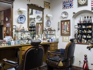 The main area of the barbershop.